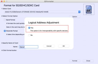 開啟「 Logical Address Adjustment 」可以提高 microSD 卡的兼容性