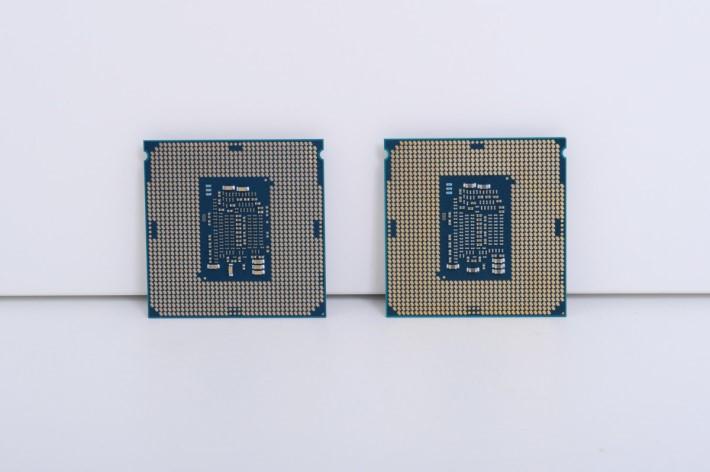 Core i7-7700K(右)沿用 LGA1151 針腳。