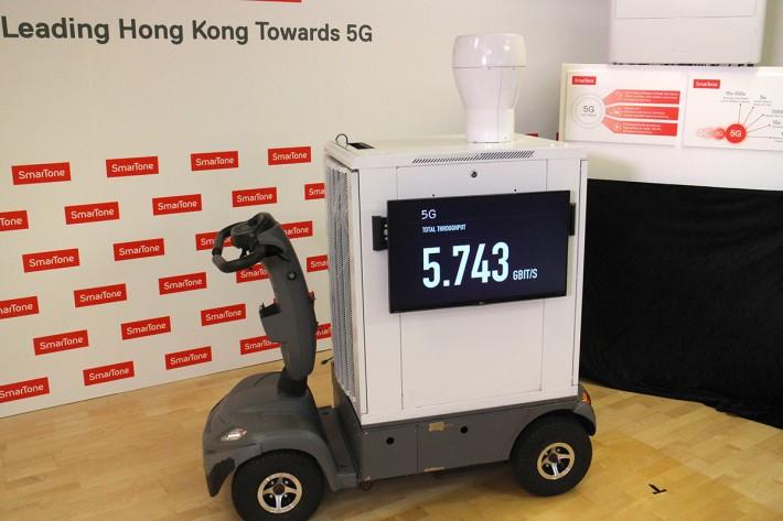 5G 技術相關演示中,最高傳輸速度可達 5.7Gbps 左右。