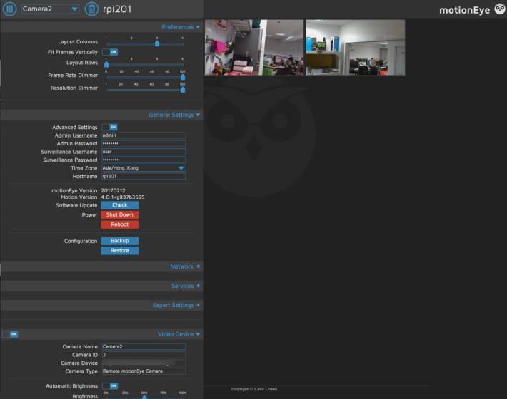 MotionEyeOS 提供簡單的監控影像管理方案