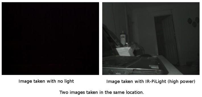 只要使用 RPi 官方的 NoIR v2 去除紅外線濾鏡的鏡頭模組,配合紅外線燈光,就可以進行黑夜拍攝。