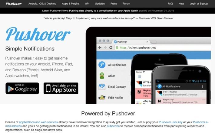 圖 06: PushOver 提供非常價格低廉的推播信息服務,以增加 MotionEyeOS 的可用性。