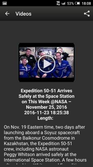 App 提供的短片與截圖的時間相當接近,可見 NASA 不時更新 App。