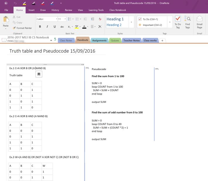 相同的問題,有同學可使用文書工具裡的表格功能作答。