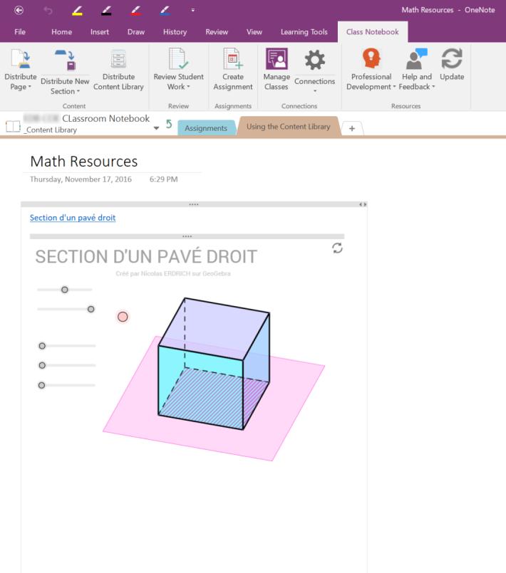 支援部分第三方程式,如數學的 GeoGebra,圖中的正方形可用動態表示。