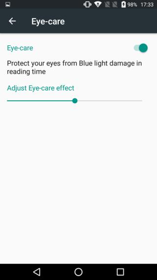 有藍光護眼功能,晚間使用手機就不怕強光影響眼睛。