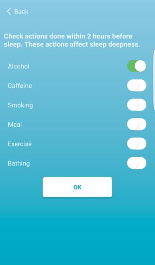 簡單選擇睡前做過的事項方便app來分析及調整