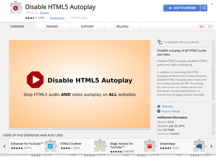 名為「Disable HTML5 Autoplay」的Chrome 插件