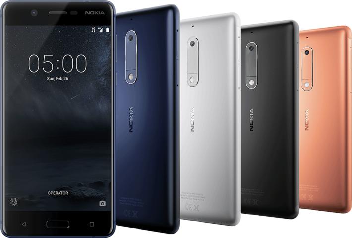 中間款 Nokia 5,使用 Snapdragon 430 處理器,配置 2GB RAM 及 16GB ROM、13MP 主相機以及 5.2吋 720p IPS 屏幕。