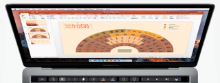 PowerPoint 的 Touch Bar 在編輯模式下主要協助選取及調整元素