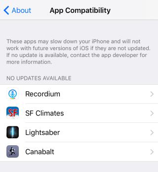 軟件相容性界面列出裝置裡不支援 64bit 處理器,而又沒有更新的 App。這些 App 好有可能會在不久被 Apple 處死。