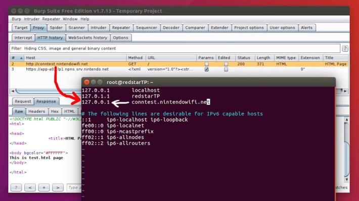 駭客將「conntest.nintendowifi.net」指向代理伺服器自己。