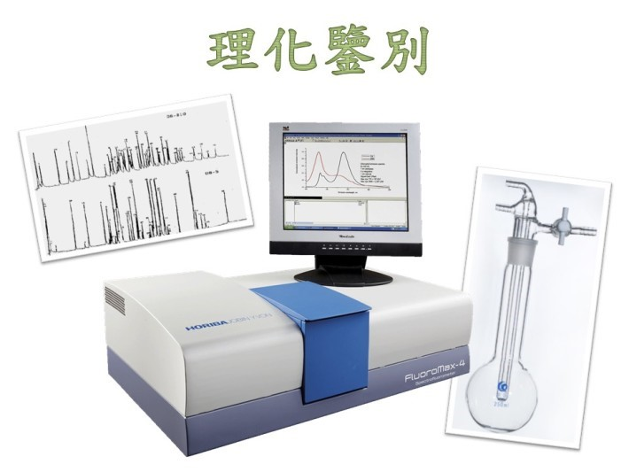 理化鑒別是運用一般的物理和化學分析來鑒別中藥,運用不同的物理分析,例如微量昇華、螢光分析、化學定量檢查及層析法等,對它們所含的成份和特徵進行分析和對比來鑒定中藥。