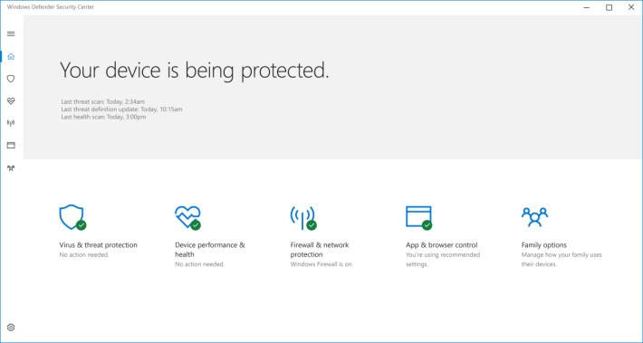 新增 Windows Defender Security Center 集中保安及私隱管理