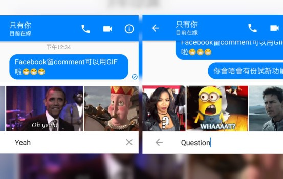 Facebook 測試 GIF 圖回應功能!