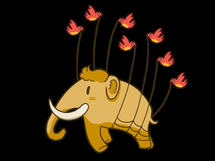 Mastodon 專頁上的插圖:多隻飛鴿( Twitter 的標誌 )吊起的長毛象,象徵 Mastodon 所採用的分散式設計。