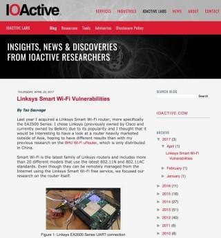IOActive 在網誌上揭露 Linksys Wi-Fi 路由器存在漏洞