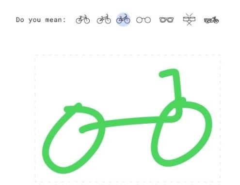 手繪一部單車,畫面上方就會列出相似的圖案讓你選擇