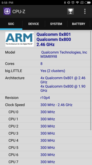 採用 S835 處理器,主時脈達到 2.46GHz。