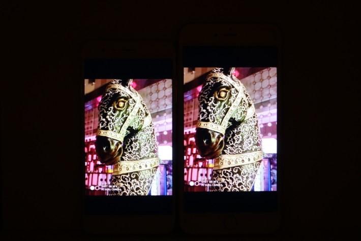 將小米 6(左)與 iPhone 6s Plus 以最低光情況比較,兩者相差不遠。