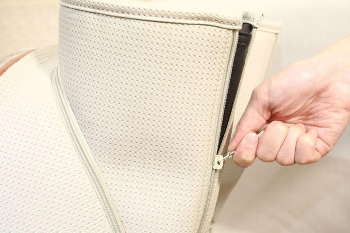 拉鏈設計的布套,可根據雙腿的尺寸選擇拉開或拉上。