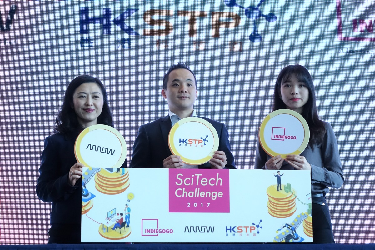 左起:Arrow Electronics 大中華區副總裁梁淑琴、科技園首席科技總監戴紹龍、Indiegogo 策略項目總監 Sandy Diao,均認為透過比賽最能發掘及聚集人才。