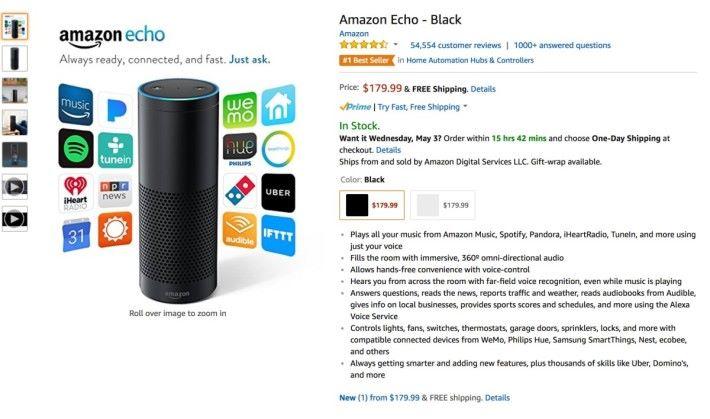 Amazon Echo 售價約為港幣 $1,400 。