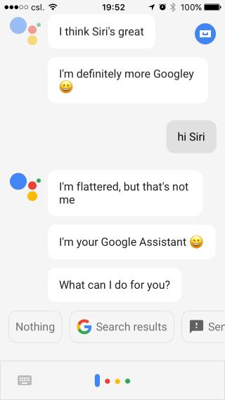 Google Assistant 的雖然用了「受寵若驚」的有禮貌字句,不過語氣就明顯很不好。