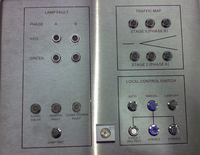 控制面版上設有按鈕和指示燈。