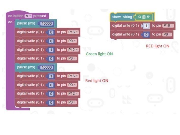 可用 Block Programming 設計編程,控制交通燈模型。