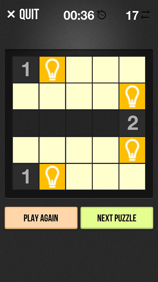遊戲有點像傳統踩地雷,根據數字來放置燈膽。