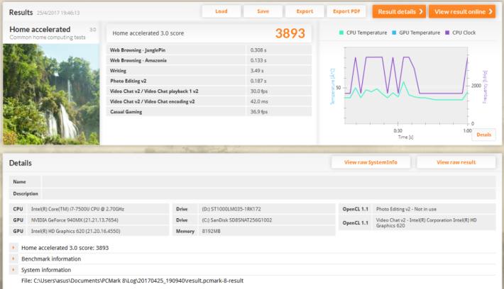 PCMark 8 Home Accelerated 3.0 跑出接近 3,900 分,以 Core i7-7500U 機種來說表現不錯。