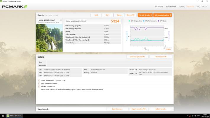 啟用超頻模式後,PCMark 8 Home Accelerated 3.0跑出 5,300 多分,在一眾 Gaming Notebook 中屬前列。
