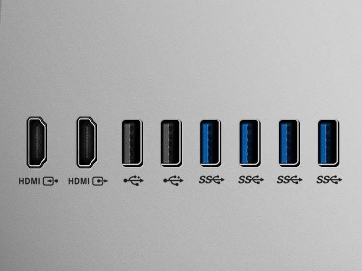 各式外接介面齊備,當中包括 HDMI 輸入及輸出介面。