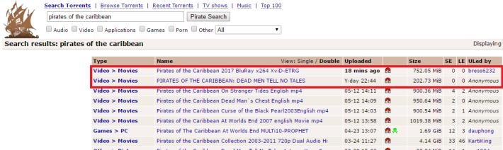 疑似是未上畫的《加勒比海盜:惡靈啟航》藍光版在網上流傳讓人下載