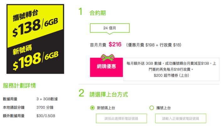 要記住,轉台先可有 $138 每月 6GB 數據用量。