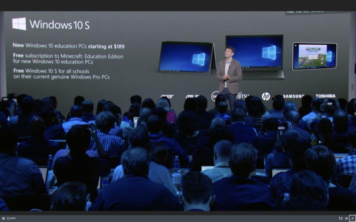 擁有 Windows 10 S PC 將會由 189 美元起。