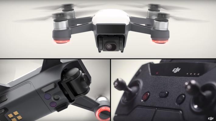 SPARK 設有 25mm f/2.6 廣角鏡頭及視覺定位系統,可另購遙控器。