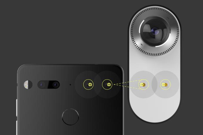機背備有兩個磁吸接點,用於連接其他配件,如 360 相機及日後會推出的充電座等等。
