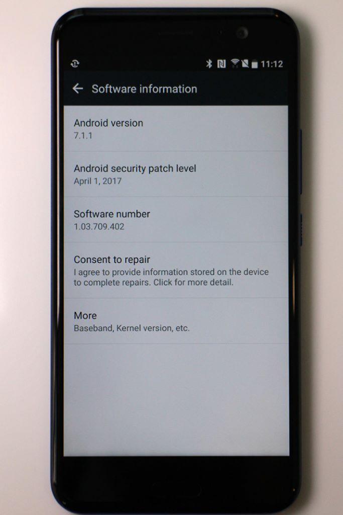 U11 運行 Android 7.1.1系統。