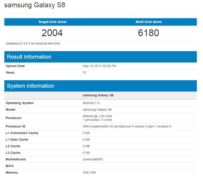 Samsung S8 跑分