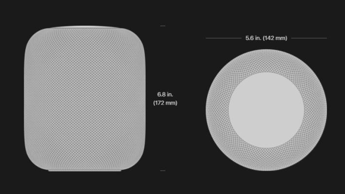 HomePod 的設計頗為小巧。