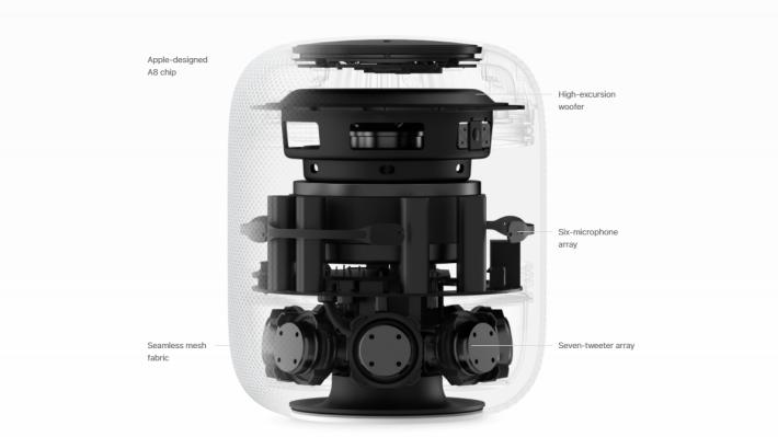 配備 7組高音喇叭以及一組低音揚聲器,能自動偵測房間大小來調節音場。