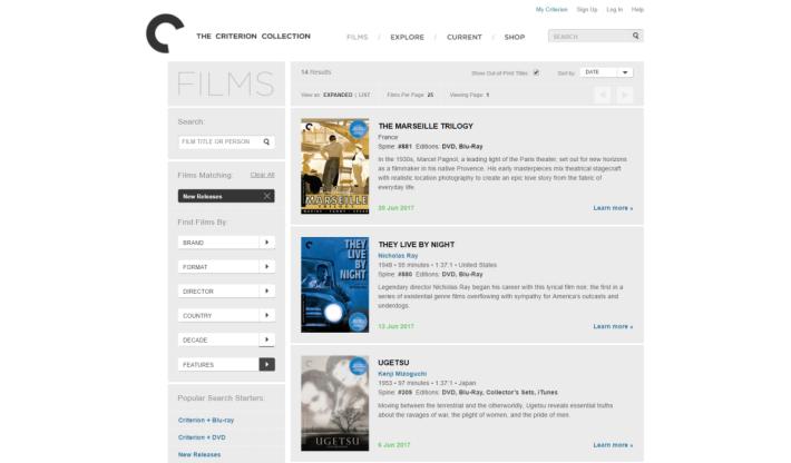 Criterion Collection 將一些經典電影重新包裝,並推出珍藏版本。