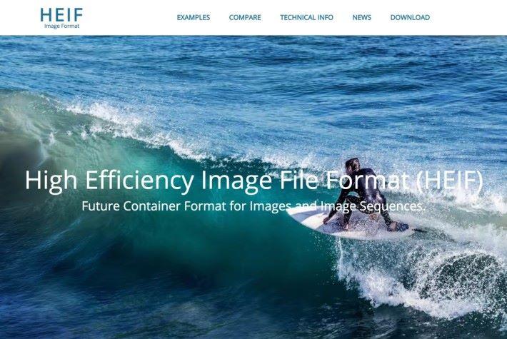 Nokia 的 HEIF 技術網頁裡的主圖就是用 HEIF 格式圖片。