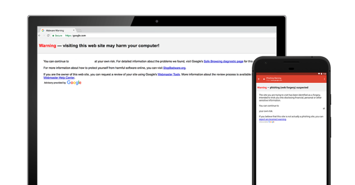 將 Safe Browsing 服務和人工智能結合後,當收信人點擊可疑連結時,就會發出警告。