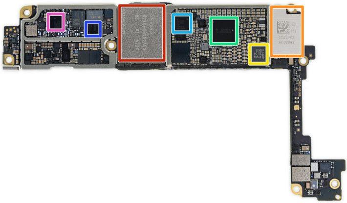 底板中的黃色方格,就是 iPhone 所用的 NFC 晶片。