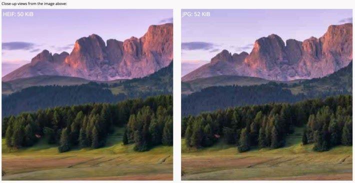 放大後明顯看到相同大小下,色彩的漸層和雜訊都有所改善。