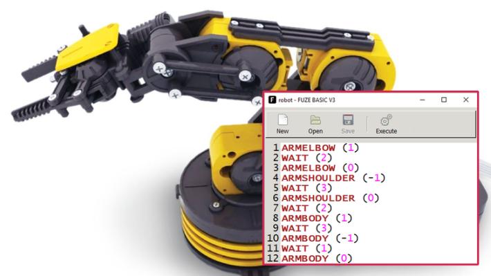 FUZE BASIC 雖然是語法很簡單的語言,但用一句指令就可以在指定平台上控制機械臂。
