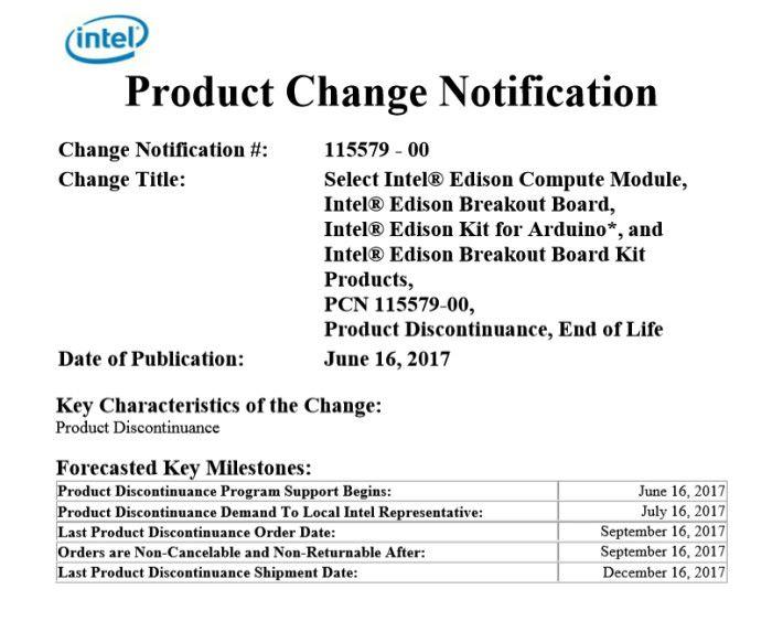 Intel 只在產品變更通告裡宣布,做法相當低調。